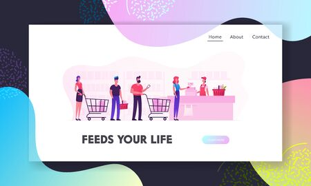 People in Supermarket Website Landing Page. Customers Stand in Line at Grocery Turn with Goods in Shopping Trolley Put Buys on Cashier Desk for Paying Web Page Banner. Cartoon Flat Vector Illustration