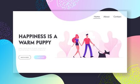 Loving Couple Walking with Dog in City Park Website Landing Page. Young Family Playing with Pet Outdoors Having Leisure. Human and Animal Relations Web Page Banner. Cartoon Flat Vector Illustration