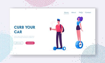 People Riding Modern Transporters Website Landing Page. Hoverboard or Self-balancing Board, Electric Unicycle, Motorized Kick Scooter Eco Transport Web Page Banner. Cartoon Flat Vector Illustration