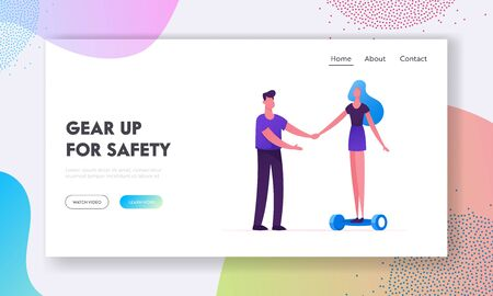Eco Transport Website Landing Page. Woman Trying to Ride Modern Electric Hoverboard or Self-balancing Board. Girl Learn to Drive Motorized Scooter Web Page Banner. Cartoon Flat Vector Illustration