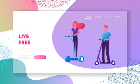 Eco Transport Website Landing Page. People Riding Modern Transporters Hoverboard or Self-balancing Board, Electric Unicycle, Motorized Kick Scooter Web Page Banner. Cartoon Flat Vector Illustration