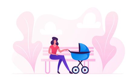 Young Woman Sitting on Bench with Baby Stroller Lulling Child in City Park. Mother Walking with Newborn Kid Spending Time Outdoors Having Leisure. Maternity Childhood Cartoon Flat Vector Illustration