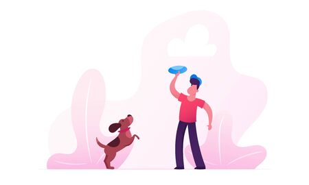 Boy Walking with Dachshund Dog Outdoors. Male Character Playing with Pet Spending Time at Summertime Park Relaxing. Leisure, Communicating with Home Animal. Cartoon Flat Vector Illustration