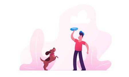 Garçon marchant avec un chien teckel à l'extérieur. Personnage masculin jouant avec un animal de compagnie passant du temps à Summertime Park se détendre. Loisirs, communication avec les animaux domestiques. Illustration vectorielle plane de dessin animé