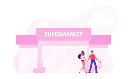 People Leaving Supermarket with Shopping Bags Full of Products. Happy Loving Couple Making Purchases in Store. Family Buying Food on Weekend Spending Time Together Cartoon Flat Vector Illustration