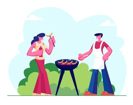 Happy Couple of Male and Female Characters Dating Outdoors on Bbq Picnic. Young Man Frying Sausages, Woman Eating. Romantic Loving Relations Meeting Family Spare Time. Cartoon Flat Vector Illustration