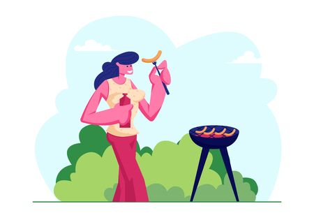 Happy Female Character Outdoors Bbq Picnic Spare Time. Young Woman Holding Ketchup and Fried Sausage on Fork, Summertime Spare Time on Nature Outdoor Leisure Vacation Cartoon Flat Vector Illustration Ilustração
