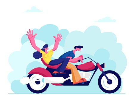 Young Loving Couple Riding Motorbike on Nature Background at Summer Time Weather. Girl and Man Having Vacation Sparetime, Leisure Romantic Journey Love Human Relations Cartoon Flat Vector Illustration
