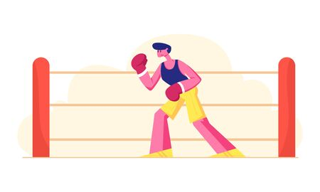Male Character Professional Sportsman Boxer or Kickboxer Stand in Fighting Pose Take Part in Combat Competition. Athletic Man in Sportswear and Gloves Boxing on Ring. Cartoon Flat Vector Illustration