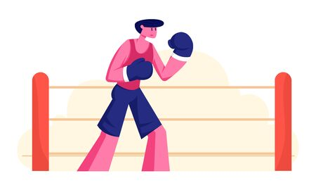 Athletic Man in Sportswear and Boxing Gloves Stand Ring. Male Character Professional Sportsman Boxer Stand in Fighting Pose Take Part in Martial Combat Competition. Cartoon Flat Vector Illustration