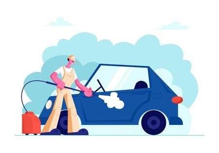Trabajador del servicio de lavado de coches vistiendo uniforme de espumado automóvil con esponja y vertido con chorro de agua de la lavadora de alta presión. Proceso de trabajo del empleado de la empresa de limpieza. Ilustración de Vector plano de dibujos animados Ilustración de vector