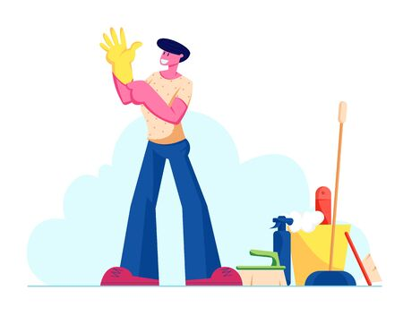 Young Man Put on Yellow Rubber Glove on Hand Stand near Cleaning Tools and Equipment. Male Character Prepare for Home Household Chores, Cleaning Service Worker Duties. Cartoon Flat Vector Illustration Ilustrace