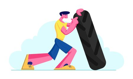 Crossfit or Bodybuilding Concept with Strong and Power Athletics Man Lifting Huge Tire. Sportsman Workout Exercising in Gym. Healthy and Active Lifestyle, Competition Cartoon Flat Vector Illustration Vector Illustration