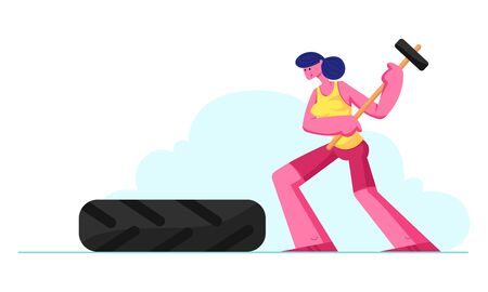 Crossfit or Bodybuilding Concept with Strong and Power Athletics Woman Hitting Tire with Hammer. Sportswoman Workout Exercising in Gym Prepare for Sport Competition Cartoon Flat Vector Illustration
