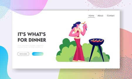Barbeque Spare Time Website Landing Page. Happy Woman Holding Ketchup and Fried Sausage on Fork, Summertime Nature Outdoor Leisure Vacation Bbq Picnic Web Page Banner. Cartoon Flat Vector Illustration Ilustração