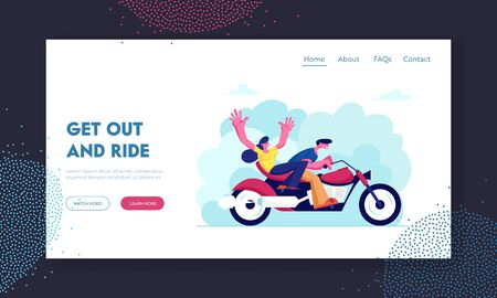 Young Loving Couple Riding Motorbike Website Landing Page. Girl and Man Having Vacation Sparetime Summer Time Weather, Leisure Romantic Journey Love Web Page. Cartoon Flat Vector Illustration, Banner