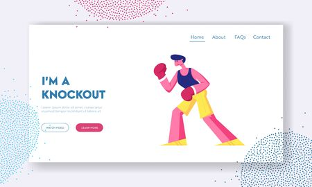 Athletic Man Boxing on Ring Website Landing Page. Professional Sportsman Boxer or Kickboxer Stand in Fighting Pose Take Part in Combat Competition Web Page Banner. Cartoon Flat Vector Illustration