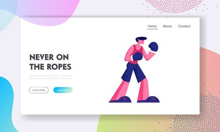 Male Character Boxer Stand in Fighting Pose Take Part in Competition Website Landing Page. Athletic Man in Sportswear and Boxing Gloves Stand on Ring Web Page Banner. Cartoon Flat Vector Illustration