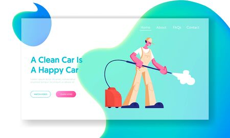 Car Wash Service Employee at Work Website Landing Page. Worker Wearing Uniform with High Pressure Washer Pouring Water Jet. Cleaning Company Work Web Page Banner. Cartoon Flat Vector Illustration