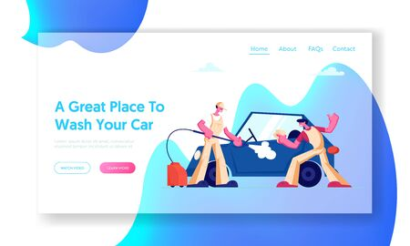 Car Wash Service Website Landing Page. Workers Wearing Uniform Lathering Automobile with Sponge and Pouring with Water Jet. Cleaning Company Working Web Page Banner. Cartoon Flat Vector Illustration Illustration