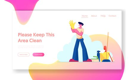 Cleaning Service Worker Duties Website Landing Page. Man Put Yellow Rubber Glove on Hand near Cleaning Tools and Equipment. Home Household Chores Web Page Banner. Cartoon Flat Vector Illustration Ilustrace