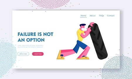Crossfit or Bodybuilding Workout Website Landing Page. Strong Athletics Man Lifting Huge Tire. Sportsman Exercising in Gym Prepare for Competition Web Page Banner. Cartoon Flat Vector Illustration
