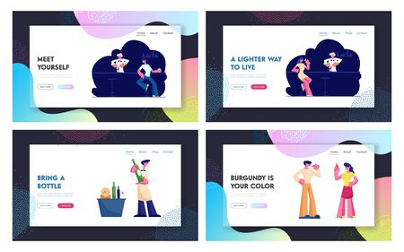 Wine Degustation and Visiting Night Club Website Landing Page. Expert Sommelier Presenting Alcohol Drink Customers, Man and Woman Night Life Leisure Web Page Banner. Cartoon Flat Vector Illustration