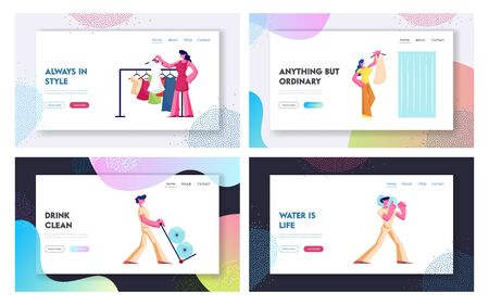 Water Express Delivery Service and Woman Shopping Hobby Website Landing Page Set. Workers Shipping Plastic Bottles, Girl Visiting Fashion Store Web Page Banner. Cartoon Flat Vector Illustration