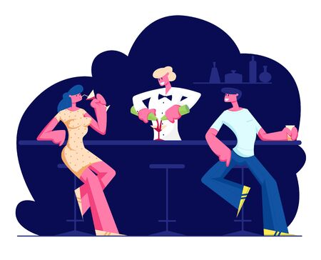 People Visiting Night Club Concept. Male and Female Characters Sit at High Chairs Drinking Beverages on Bar Counter with Barman Making Cocktail in Modern Restaurant Cartoon Flat Vector Illustration.