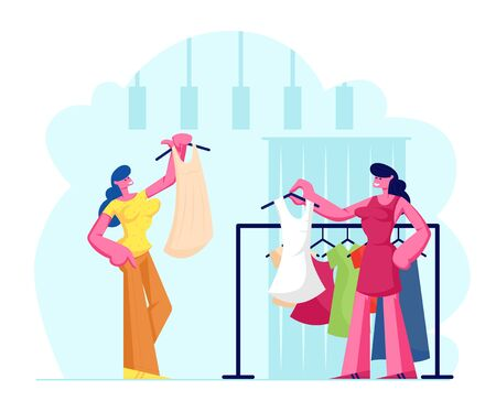 Young Woman Choosing Fashioned Dress in Store, Sales Woman Assistant Offer Garment of New Collection Standing near Hanger. Female Character Shopping Spare Time Hobby. Cartoon Flat Vector Illustration