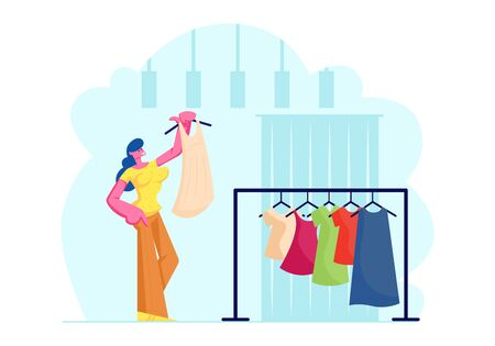 Young Woman Try On Fashioned Dress in Store. Girl Stand near Change Room with Curtain Hold Hanger with Apparel. Female Shopaholic Character Shopping Spare Time Hobby Cartoon Flat Vector Illustration  イラスト・ベクター素材