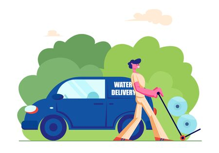 Express Delivery Company Employee on Van Pushing Trolley with Plastic Water Bottles for Home or Office Cooler. Worker Male Character Wearing Uniform Shipping Aqua Cartoon Flat Vector Illustration