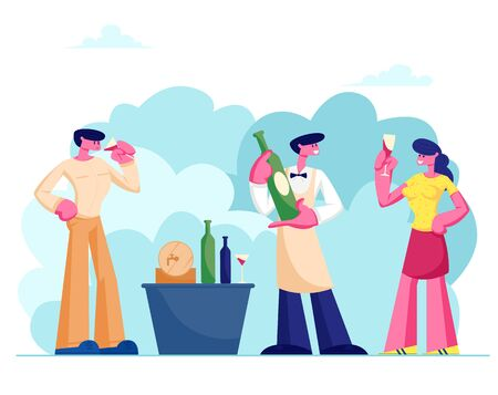 Wine Degustation with Expert Sommelier Character, Man and Woman Holding Wineglasses Tasting Alcohol Drink, Professional Expert with Bottle Explaining Beverage Features Cartoon Flat Vector Illustration  イラスト・ベクター素材