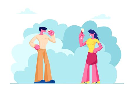 Wine Degustation Process with Man and Woman Holding Wineglasses Tasting Alcohol Drink. Customers or Professional Experts Sommelier Characters Trying Beverage Features Cartoon Flat Vector Illustration