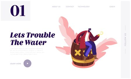 Pirate Adventure Story Website Landing Page. Young Bearded Man Wearing Old Fashioned Dressing with Metal Hook instead of Hand Sitting on Wooden Barrel Web Page Banner. Cartoon Flat Vector Illustration