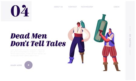Pirate Story Website Landing Page. Young Men Wearing Old Fashioned Dressing with Wooden Leg Prosthesis and Parrot on Shoulder Hold Bottle with Message Web Page Banner. Cartoon Flat Vector Illustration
