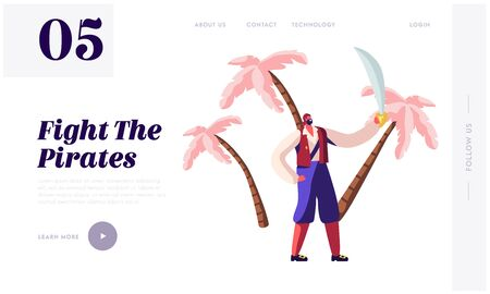 Pirates Adventure Treasure Island Website Landing Page. Young Bearded Man Wearing Old Fashioned Dressing and Kerchief on Head Hold Sword, Fantasy Story Web Page Banner Cartoon Flat Vector Illustration