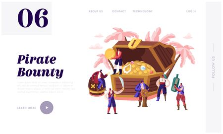 Pirates Adventure Fairy Tale Story Website Landing Page. Tiny Characters Wearing Old Fashioned Costumes at Huge Chest with Treasures, Captain and Crew Web Page Banner. Cartoon Flat Vector Illustration Illustration
