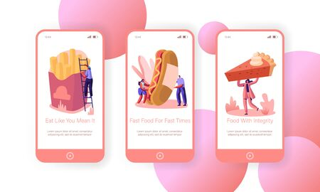 People and Street Junkfood Mobile App Page Onboard Screen Set. Characters Eat Huge Hot Dog with Mustard, French Fries, Pie. Fast Food Concept for Website or Web Page Cartoon Flat Vector Illustration