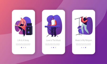 Rock Show Mobile App Page Onboard Screen Set. Men Artists Band on Stage Playing Musical Instruments Guitar and Synthesizer, Performing Concept for Website or Web Page, Cartoon Flat Vector Illustration