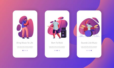 Men Artists Performing on Stage Mobile App Page Onboard Screen Set. Rock Band Playing Musical Instruments Guitar, Trumpet, Drums. Show Concept for Website or Web Page, Cartoon Flat Vector Illustration