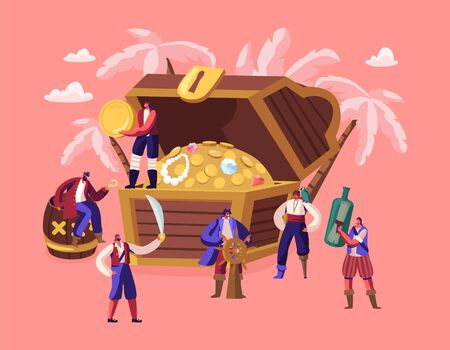 Tiny Characters Wearing Costumes and Holding Pirates Attributes near Huge Chest with Treasures. Adventure Fairy Tale Story, Captain with Steering Wheel, Men with Sword Cartoon Flat Vector Illustration