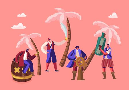 Tiny Pirates Characters Wearing Costumes on Island with Palm Trees. Adventure Fairy Tale Story Captain with Steering Wheel, Men with Sword, Bottle with Message, Barrel Cartoon Flat Vector Illustration Ilustração