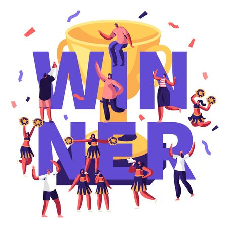 Winner Concept with Cheerleaders Team Making Pyramid on Sports Competition and Cheerful People around Golden Cup and Confetti. Sport Poster Banner Flyer Brochure. Cartoon Flat Vector Illustration Illustration