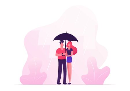 Loving Happy Couple Hugging, Holding Hands and Walking under Umbrella in Rainy Autumn Weather. Romantic Relations, Fall Day Promenade Together, Love, Man, Woman Dating Cartoon Flat Vector Illustration