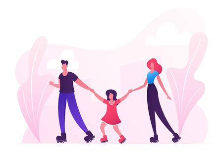 Family Weekend Leisure and Sport Spare Time. Mother, Father and Little Daughter Walking at City Park or Street Skating Rollers, Summertime Activity Leisure Vacation Cartoon Flat Vector Illustration