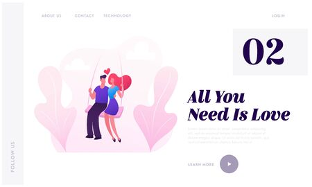 Young Couple Riding Seesaw In Park Website Landing Page. Woman and Man Swinging on Teeterboard, Flying High on Nature Landscape. Love Romantic Dating Web Page Banner. Cartoon Flat Vector Illustration
