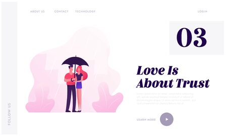 Loving Happy Couple Walking under Umbrella in Rainy Autumn Weather Website Landing Page. Romantic Love Relations, Man Woman Fall Day Promenade Dating Web Page Banner. Cartoon Flat Vector Illustration Illustration