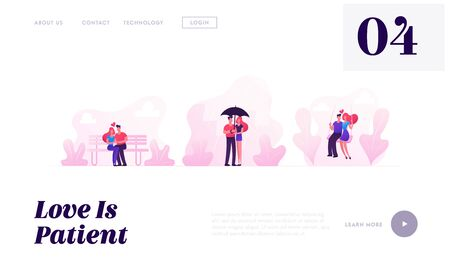 Loving Couples Spare Time Website Landing Page. Young People in Love Spend Time Together Walking under Umbrella in Rain, Hugging on Bench Riding Swing Web Page Banner. Cartoon Flat Vector Illustration