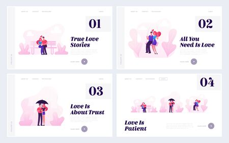 Loving Couples Website Landing Page Set. Young People in Love Spend Time Together Riding Swing, Walking in Rainy Weather, Hugging and Kissing on Bench Web Page Banner. Cartoon Flat Vector Illustration  イラスト・ベクター素材